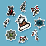 Vector Set of Stickers with Ornamental Christmas Things Stock Photos