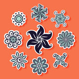 Vector Set of Stickers with Ornamental Circles Stock Images