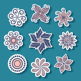 Vector Set of Stickers with Ornamental Circles Royalty Free Stock Photography