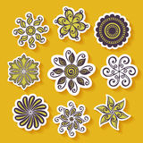Vector Set of Stickers with Ornamental Circles Stock Image