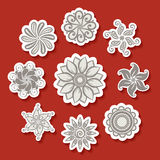 Vector Set of Stickers with Ornamental Circles Royalty Free Stock Photos