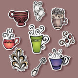 Vector Set of Stickers with Ornamental Coffee Cups Stock Image