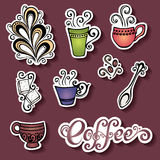 Vector Set of Stickers with Ornamental Coffee Cups Stock Photos