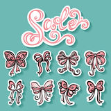 Vector Set of Stickers with Ornamental Holiday Bows Stock Images