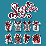 Vector Set of Stickers with Ornamental Holiday Gifts Stock Photo