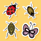 Vector Set of Stickers with Ornamental Insects Stock Photos