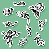 Vector Set of Stickers with Ornamental Insects Royalty Free Stock Photography