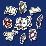 Vector Set of Stickers with School Supplies Stock Photography