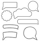 Vector set of stickers of speech bubbles. Blank empty white speech bubbles. stock illustration