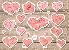 Vector set of stickers for Valentine's Day. Royalty Free Stock Photo