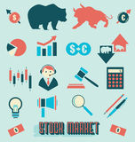 Vector Set: Stock Market Icons and Symbols. Collection of flat retro style stock market icons and silhouettes Royalty Free Stock Photo
