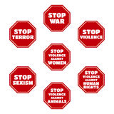 Vector set of Stop Terror, War, Sexism, Violence against Women, Human Rights, Animals. Red symbols Royalty Free Stock Image