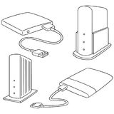 Vector set of storage device. Hand drawn cartoon, doodle illustration Stock Photography