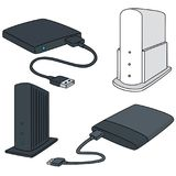 Vector set of storage device. Hand drawn cartoon, doodle illustration Royalty Free Stock Photography