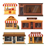 Vector set of store buildings. Shops design elements and icons in flat Royalty Free Stock Photo