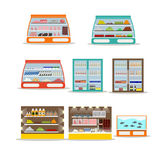 Vector set of store shelf. Supermarket shop interior design elements and icons  on white background Stock Photo