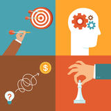 Vector set of strategy and problem solving icons Royalty Free Stock Images