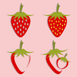 Vector set of strawberry icon Stock Photo