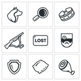 Vector Set of Stray Dogs Icons. Pooch, Search, Capture. Shooting, Loss, Veterinary, Zoo protection, Asleep, Food. Stock Images