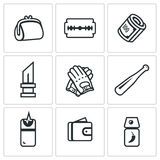 Vector Set of Street Crime Icons. Royalty Free Stock Photography