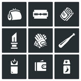 Vector Set of Street Crime Icons. Royalty Free Stock Image