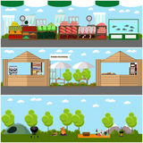 Vector set of street food festival concept banners. Camping site in a park.  Royalty Free Stock Images