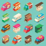 Vector street food transport isometric icon set. Vector set of street food truck and cart isometric icons. Fast food mobile shops for street food festivals Royalty Free Stock Photo