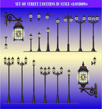 Vector set of Street lanterns Royalty Free Stock Photography