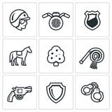Vector Set of Street Police Icons. Royalty Free Stock Photography