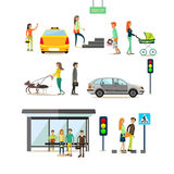 Vector set of street traffic concept design elements, flat style Stock Images
