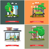 Vector set of street traffic concept posters, banners, flat design Stock Images