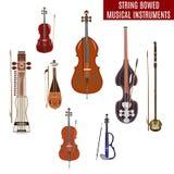 Vector set of string bowed musical instruments  on white background. Vector set of string bowed musical instruments in flat design. Classical and electric violin Stock Image