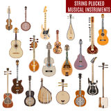Vector set of string plucked musical instruments  on white background Stock Images