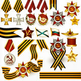 Collection of retro Russian medals and ribbons for design Royalty Free Stock Photo