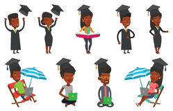 Vector set of student characters. Royalty Free Stock Photography