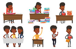 Vector set of student characters. Royalty Free Stock Photo