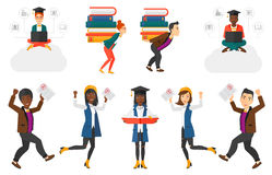 Vector set of student characters. Royalty Free Stock Image