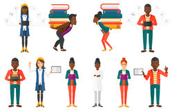 Vector set of student characters. Royalty Free Stock Images