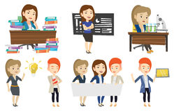Vector set of student and teachers characters. Royalty Free Stock Image