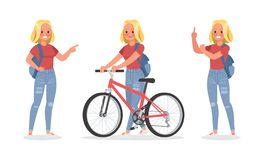Vector set of students young woman character design. no5. Vector set of students young woman character design stock illustration