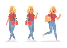 Vector set of students young woman character design. no7. Vector set of students young woman character design vector illustration
