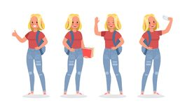 Vector set of students young woman character design. no3. Vector set of students young woman character design stock illustration