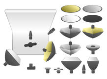 Vector set of studio equipment. Flashlights and umbrellas Stock Photo