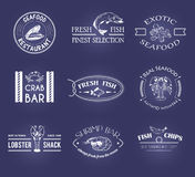 Vector set of style seafood labels Stock Photos