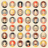 Vector set of stylish avatars. Girls and guys Stock Images