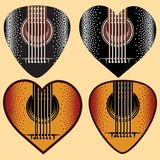 Vector set of stylish colored plectrums for guitar.  Stock Photos