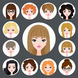 Vector set of stylish girls in modern flat design Royalty Free Stock Image