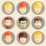 Vector set of stylish guys in modern flat design Royalty Free Stock Image
