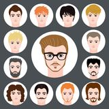 Vector set of stylish guys in modern flat design Stock Image