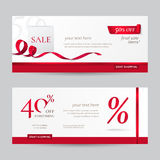 Vector set of stylish horizontal banners with paper shopping bag and red ribbons. Royalty Free Stock Photo